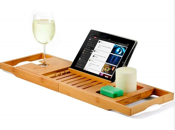 Bamboo Bathtub Caddy Tray, Wooden Bath Tray with Extending Sides, $24.99