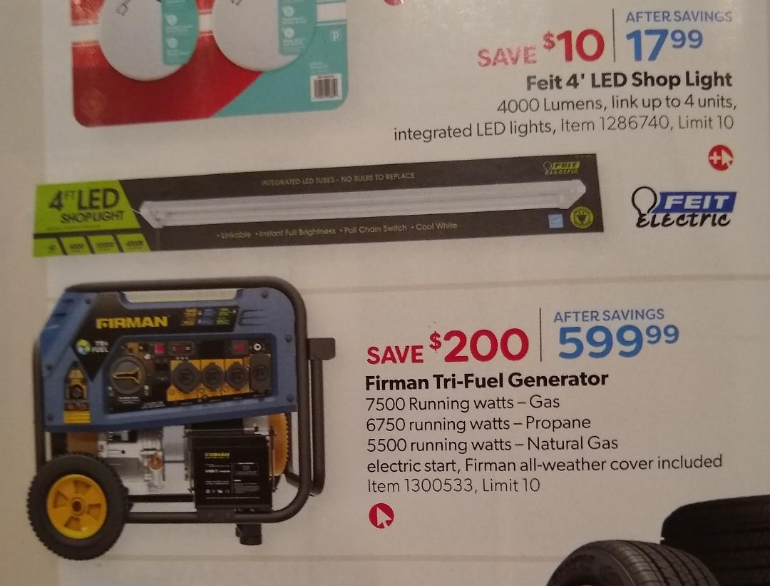 Costco June-July Savings / Firman 7500W Running / 9400W Peak Tri Fuel Generator $599.99