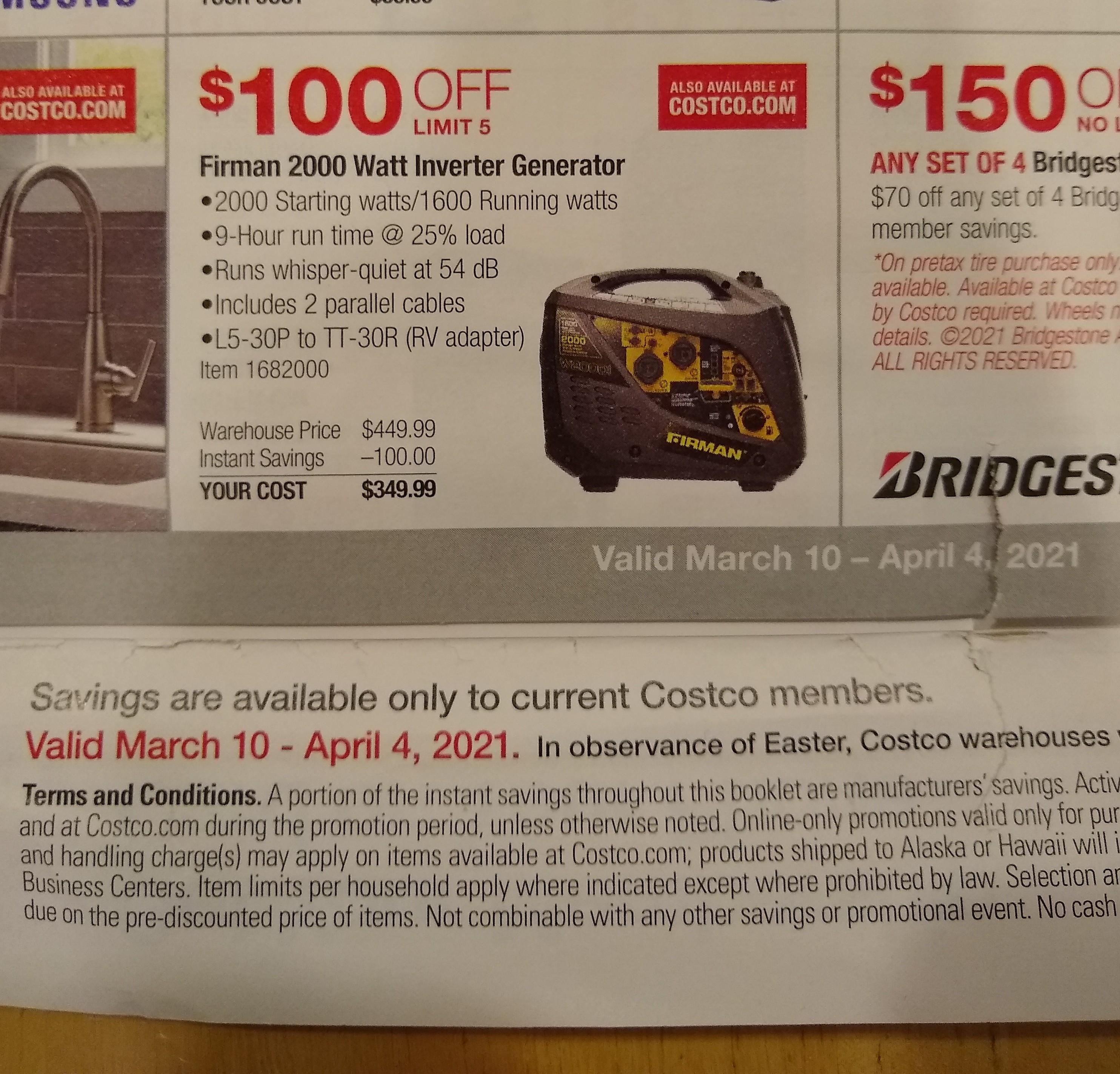 Costco Members: Firman 1600W Running / 2000W Peak Gasoline Powered Inverter Generator - $349.99  Sale Valid March 10 - April 4, 2021
