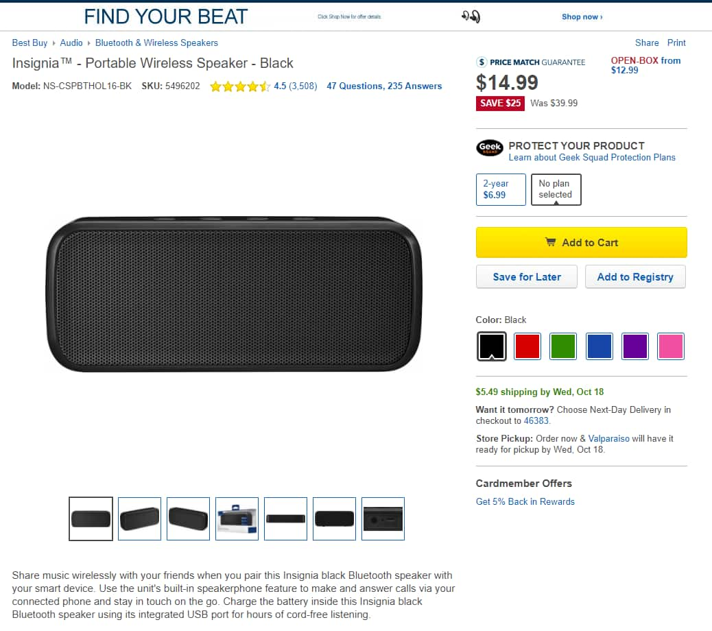 Insignia Portable Wireless Bluetooth Speaker (Various Colors) $15 + Free Store Pickup $14.99