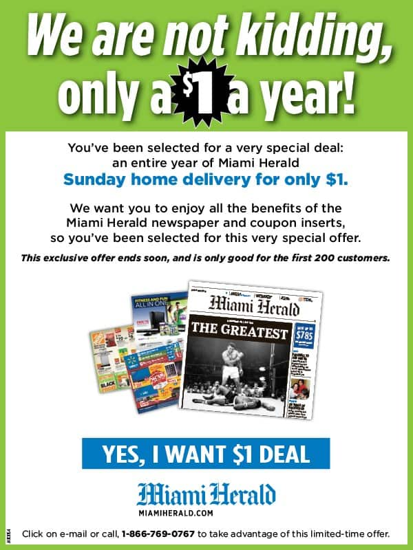 Miami Herald newspaper - 52 weeks/1 year of Sunday home delivery only $1 + tax! (New subscribers only)