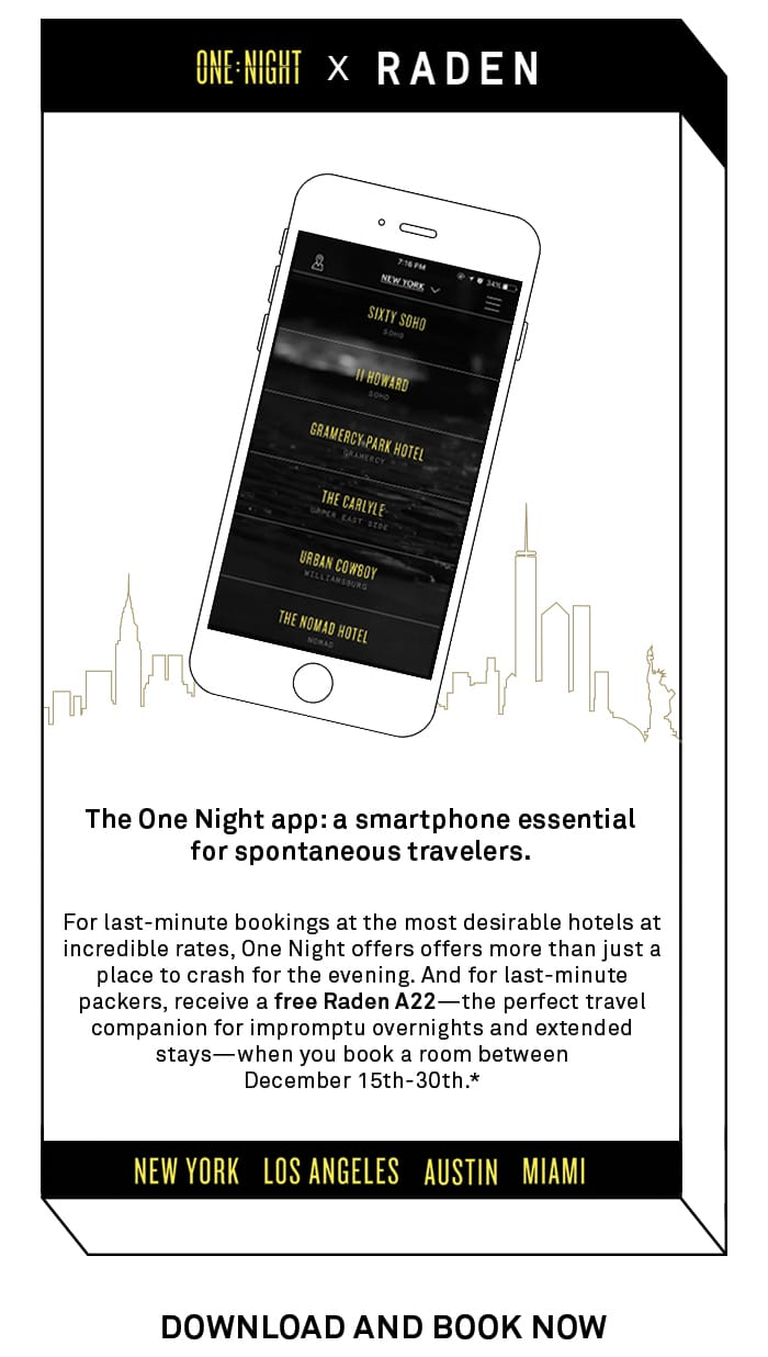 Book one hotel night stay w/ One Night app, Get free Raden A22 suitcase ($295 value)