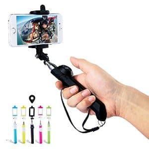 DBPOWER Colorful Extendable Selfie Stick Self-portrait Monopod with Removable Bluetooth Remote Shutter and Adjustable Phone holder for Smartphone (multiple colors) 5$ FS with prime