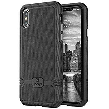 *Add On* Jaagd iPhone X Case, iPhone 10 Case, Slim Shock-absorbing Modern Slim Non-slip Grip Cell Phone Case (Black) $7.72