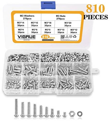 810Pcs M3 Screw Assortment Kit 304 Stainless Steel $9.89