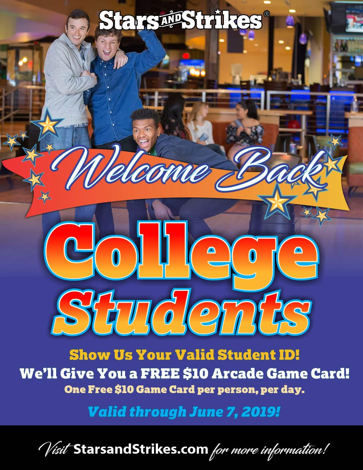 Stars & Strikes: College Students - Free $10 Arcade Game Card, One free game card per person, per day