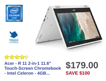 Best Buy Black Friday: Acer - R 11 2-in-1 11.6 Touch-Screen Chromebook - Intel Celeron N3060 - 4GB Memory - 16GB eMMC Flash Memory - White for $179