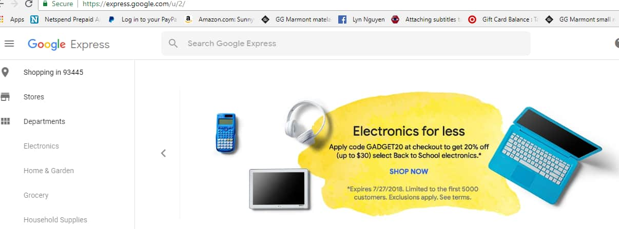 20% on select computer, tablet. headphone or calculator - Google Express!  Hurry! Limit first 5000 customers!!