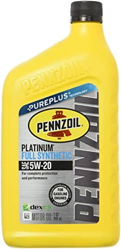 Pennzoil Platinum Full Synthetic Motor Oil (SN) 5W-20, 1 Quart $4