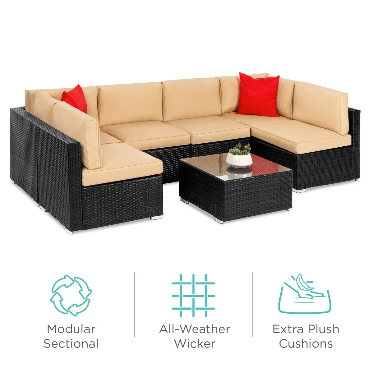 7-Piece Modular Wicker Sectional Conversation Set w/ 2 Pillows, Cover $599.99