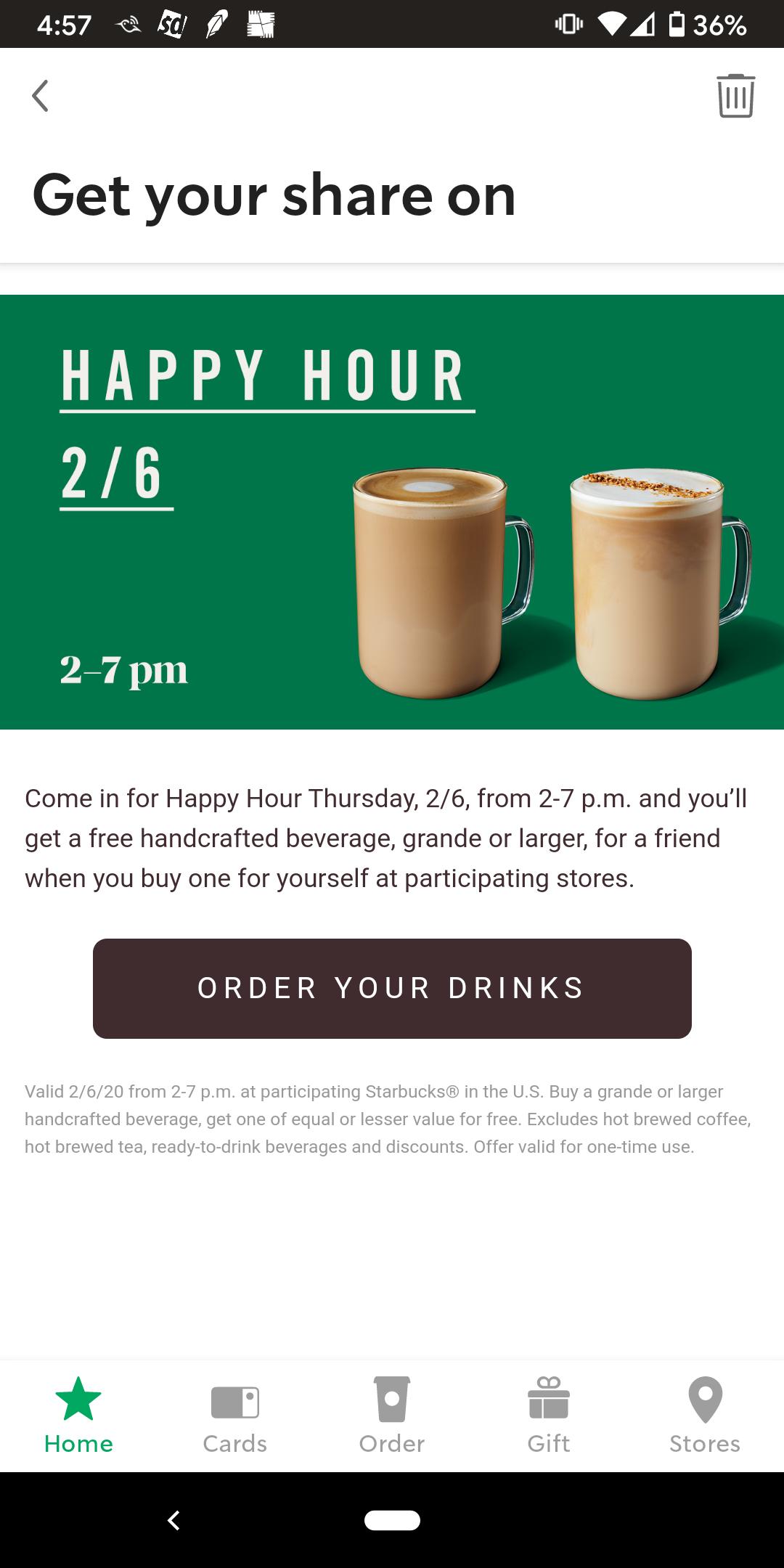 Starbucks Happy Hour BOGO Grande or Larger Handcrafted Drink 2-7PM Thursday 02/06/2020