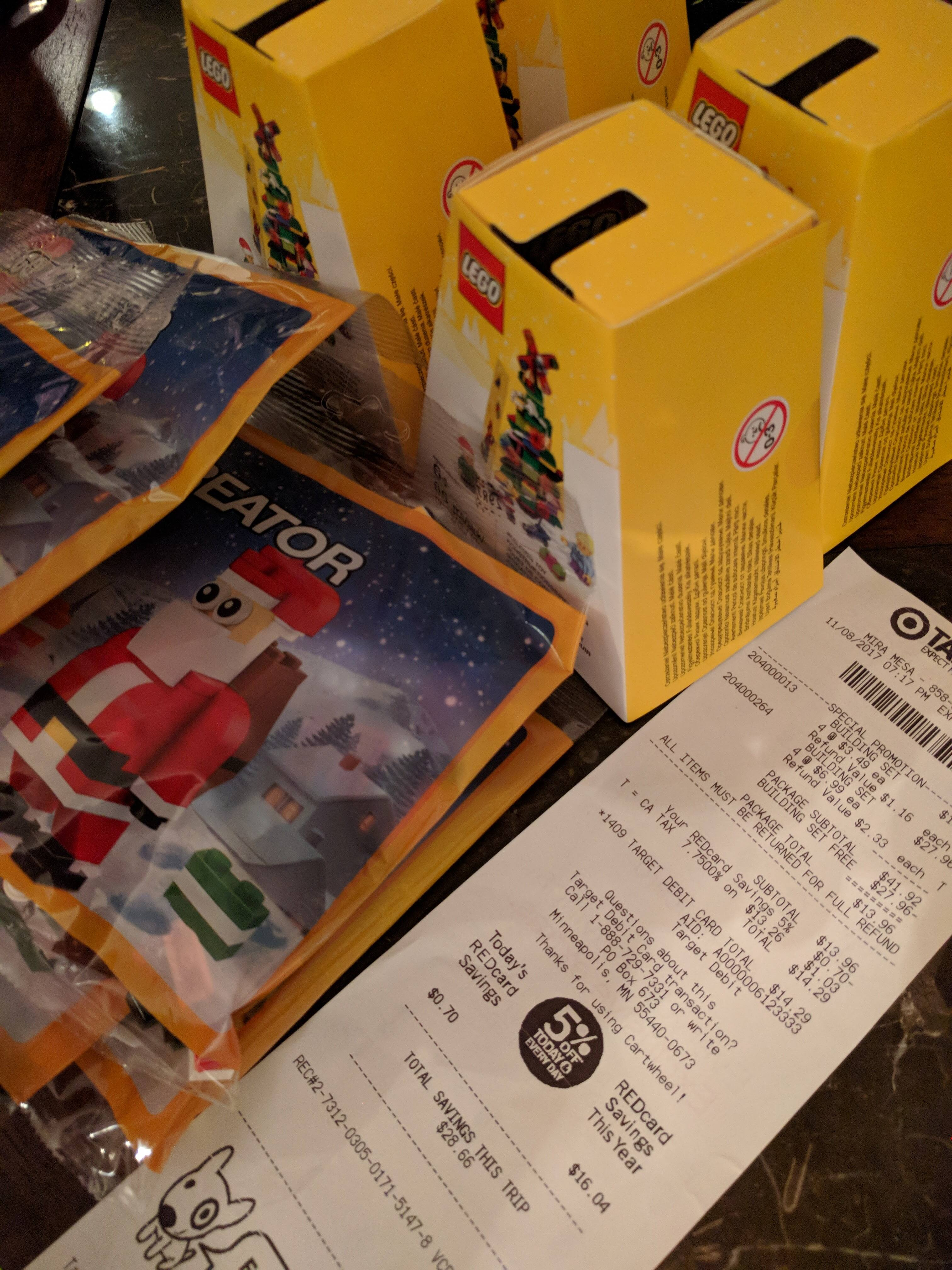 LEGO Christmas Set free with purchase of LEGO Santa Set at Target In-Store $3.49 + tax