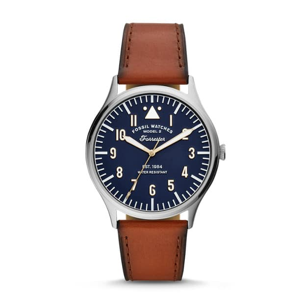 Forrester Three Hand Luggage Leather Watch for $35 at Fossil with FS