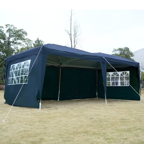 Apontus Outdoor Easy Pop Up Tent Cabana Canopy Gazebo with Walls 10' x 20' Blue $166.99