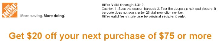 Home Depot coupon $20 off $75 or more