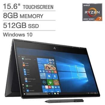 """HP Envy x360 15.6"""" Touchscreen 2-in-1 Laptop - AMD Ryzen 7 4700U - 1080p - HP Digital Pen - $749.99"""