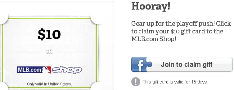 Free $10 Gift Card to MLB.com Shop with Facebook Like of Wrapp.com