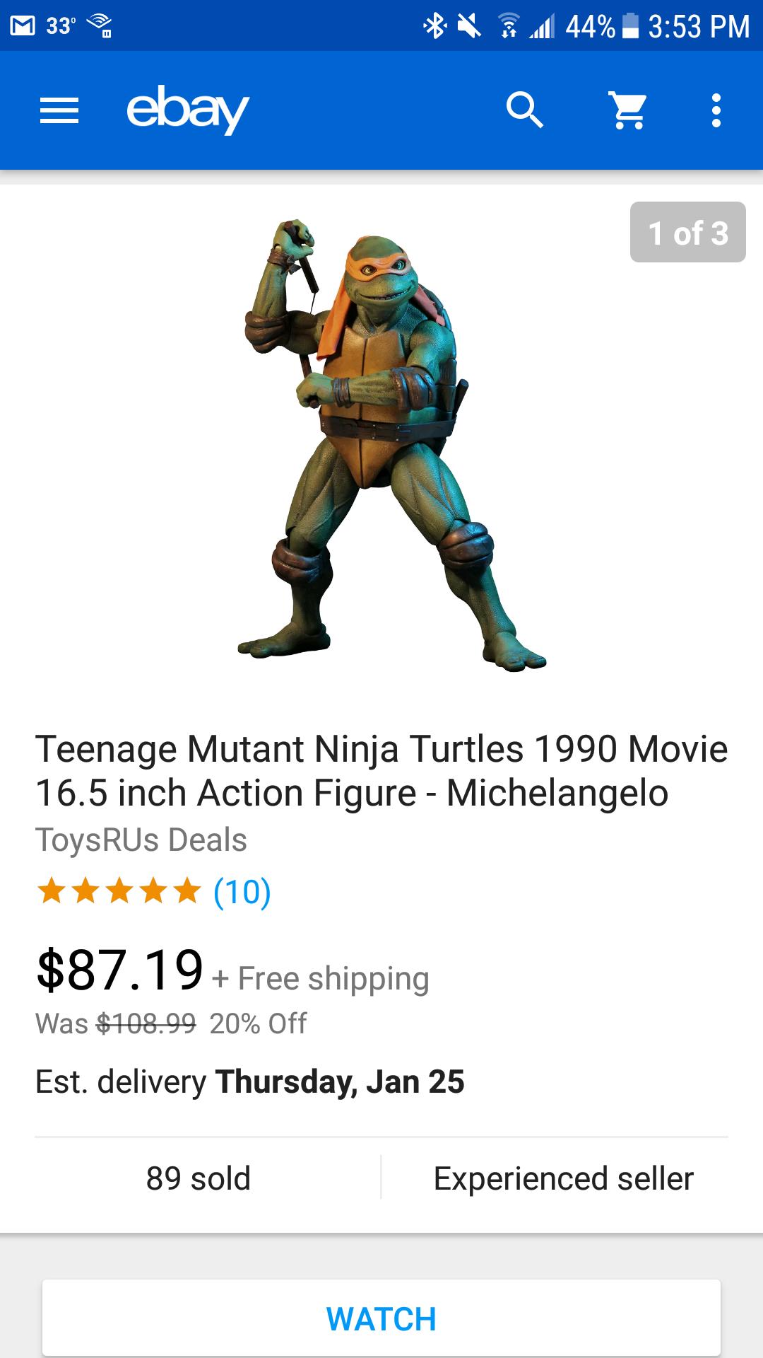 NECA TMNT Michelangelo 1/4 Scale Figure for $87.19