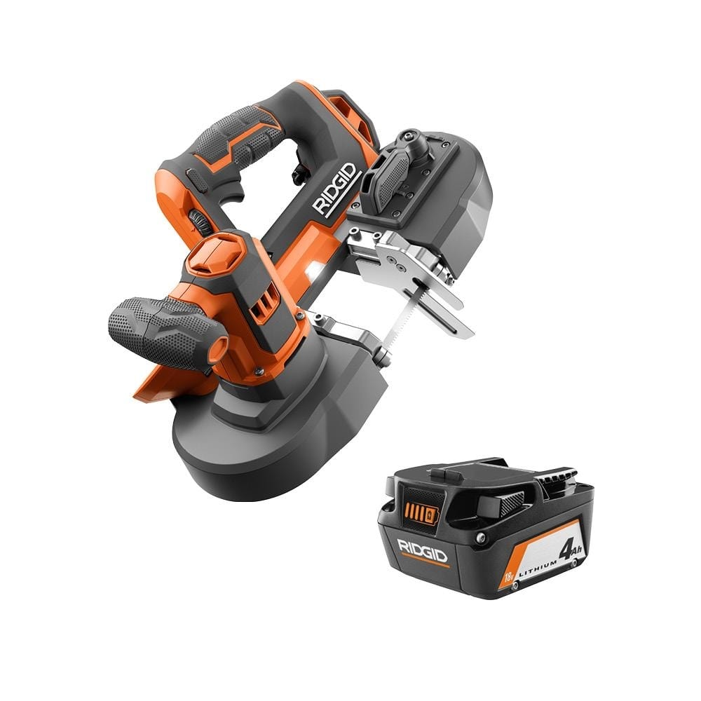 RIDGID 18V Compact Band Saw with 32-7/8 in. Blade and 4.0 Ah Lithium-Ion Battery-R8604B-AC87004 - $189.00