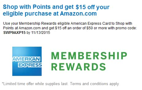 $15 off $50 purchases @ Amazon.com by redeeming AMEX MR points (YMMV)