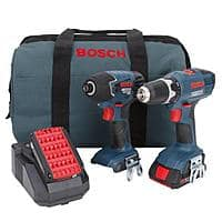 Home Depot Deal: Bosch 18-Volt drill/driver and impact driver + 2 slim pack 18-volt lithium-ion batteries, charger and carrying case for $156.10 + Free Shipping