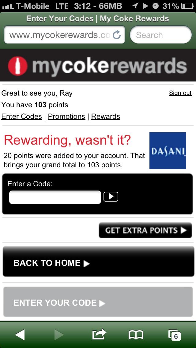 $20 Southwest credit for 100 points on My Coke Rewards 👍👍