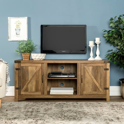 "Manor Park Modern Farmhouse Barn Door TV Stand for TVs up to 64"" - Rustic Oak $159"