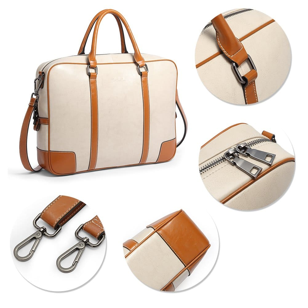 309aac75c184 BOSTANTEN Leather Briefcase Messenger Satchel Bags Laptop Handbags ...