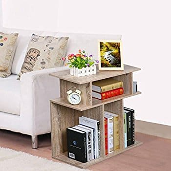 Topeakmart Wood End Table Side Sofa Console, Storage Stand, Accent End Table in Reclaimed Vintage Look, Oak $28.49