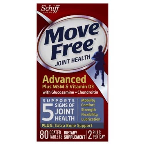 Move Free Advanced Glucosamine Chondroitin MSM Vitamin D3 and Hyaluronic Acid Joint Supplement, 80 Count: Health & Personal Care $13.99@Amazon