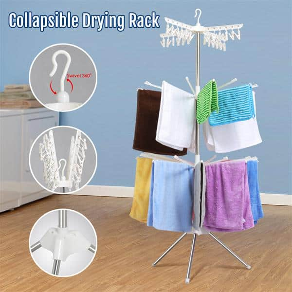 Portable 3 Tier Clothes Drying Rack Dry Wet Laundry Or Hang Clothes