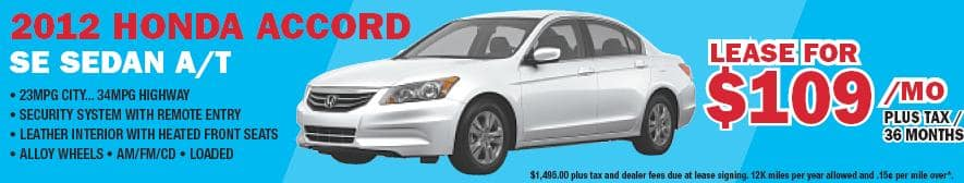 2012 Honda Accord SE $109/Month 1500 Down 36 months