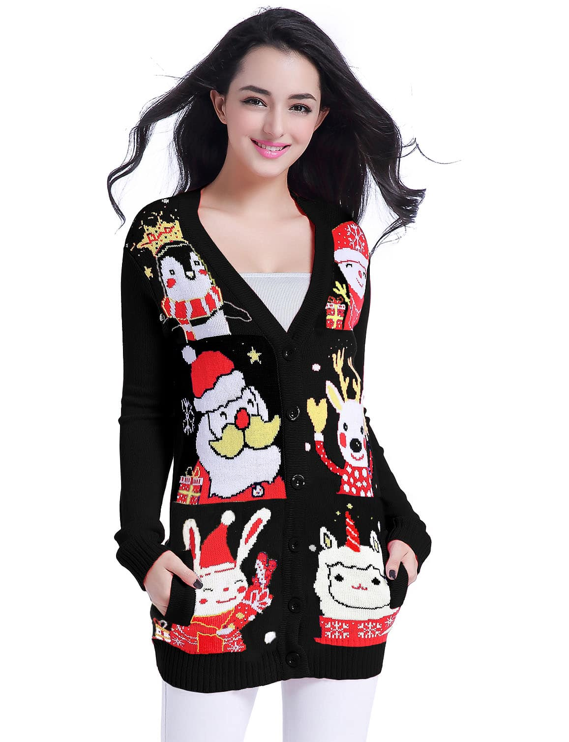 Ugly Christmas Sweater Women Girls Ladies Knit Cardigan @ AMZ $9.99-$17.99