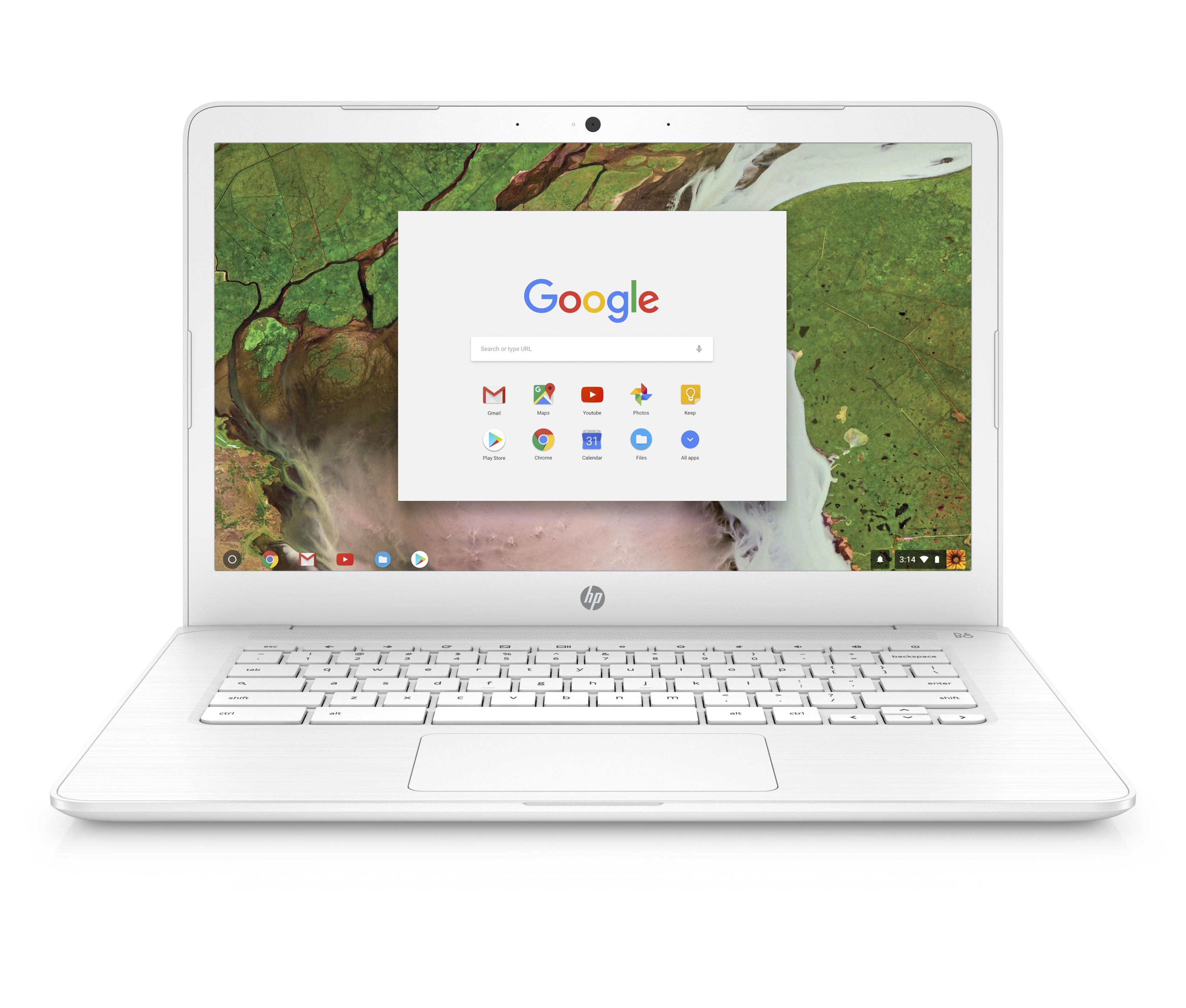 """HP Chromebook 14, 14"""" Full HD Display, Intel Celeron N3350, Intel HD Graphics 500, 32GB eMMC, 4GB SDRAM, B&O Play Audio, Snow White, 14-ca051wm $139 (YMMV, B&M)"""