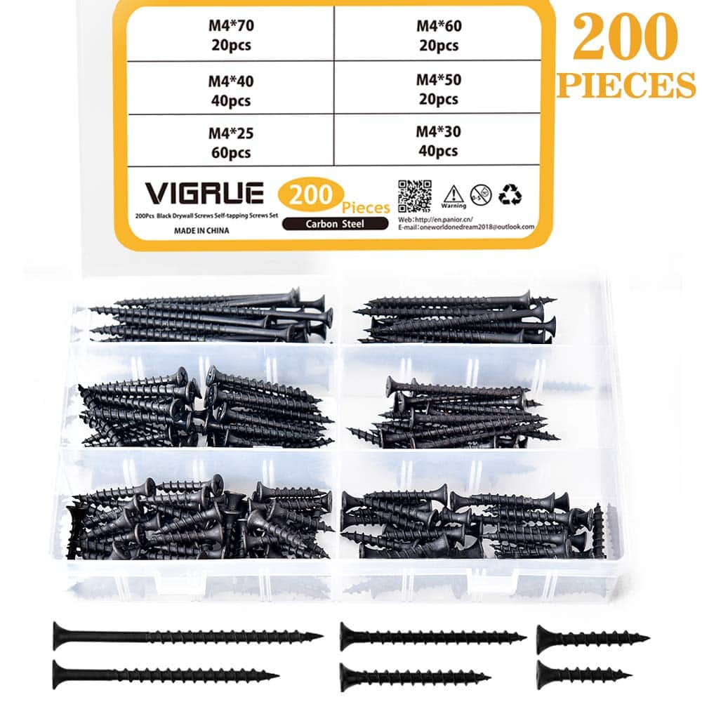 M4 Drywall Screws Sharp Point Self Tapping Carbon Steel Wood Phillips Bugle Head 200PCS $8.99