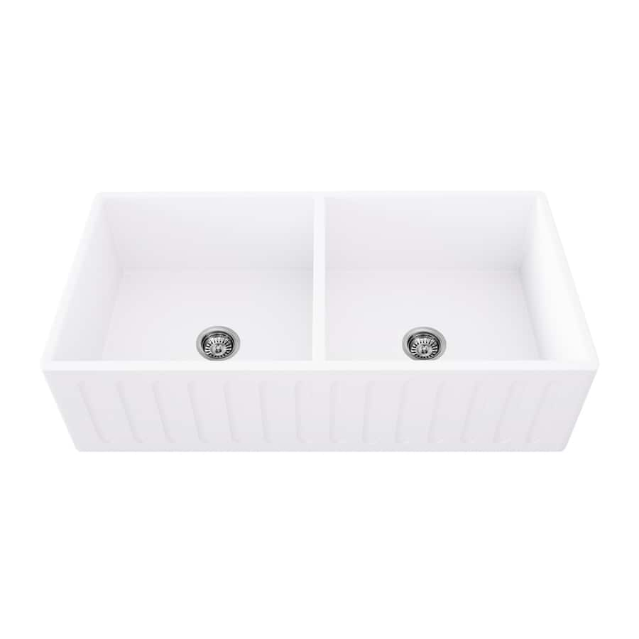 VIGO 36-inch Matte Stone Double Bowl Farmhouse Sink - $514.24 + Free Shipping...