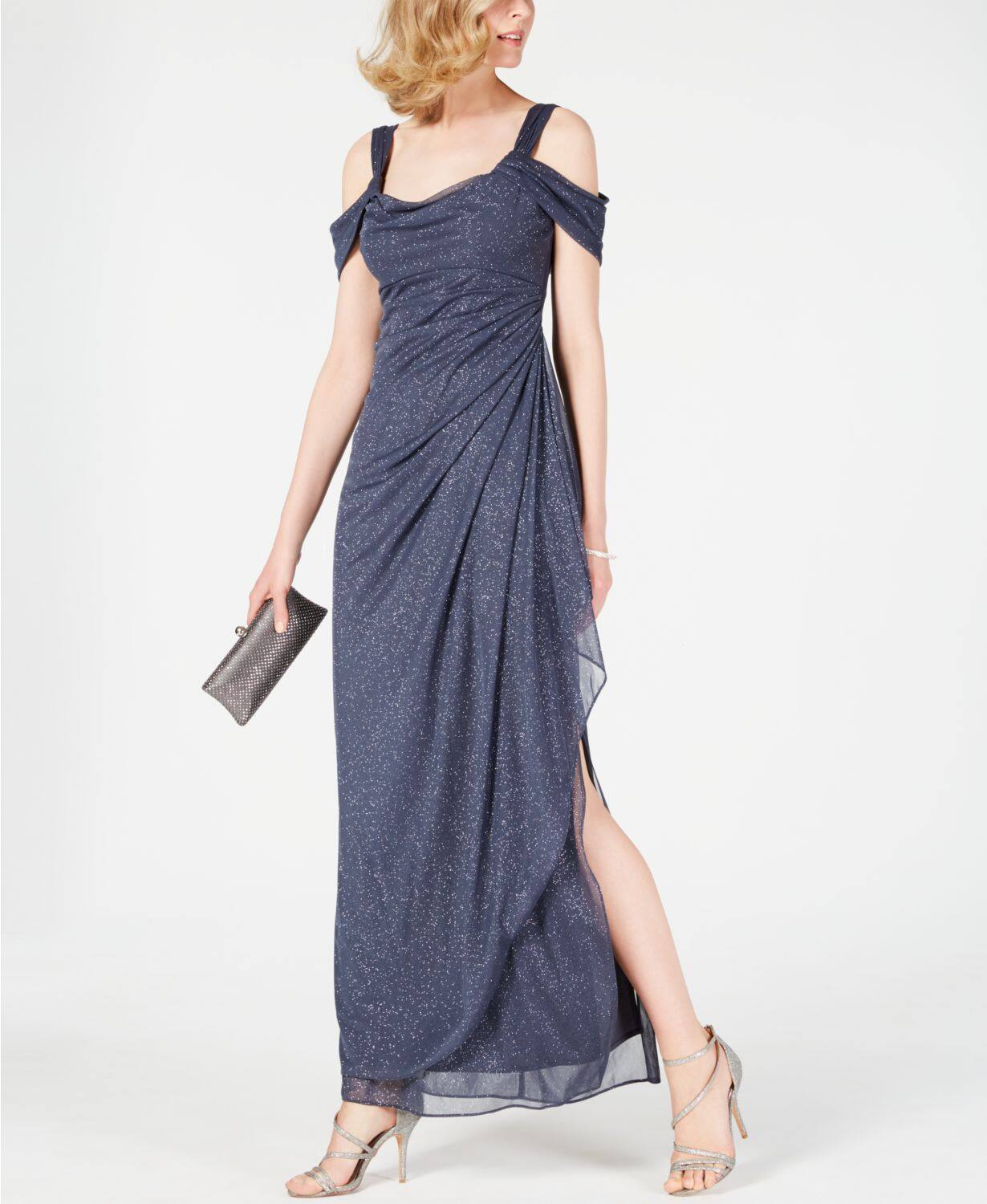 Alex Evenings Cold-Shoulder Draped Metallic Gown $97.30 + fs