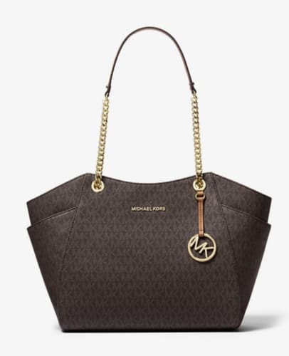 Michael Kors Jet Set Travel Large Chain Shoulder Tote Leather MK Signature PVC $79.99  + fs $80