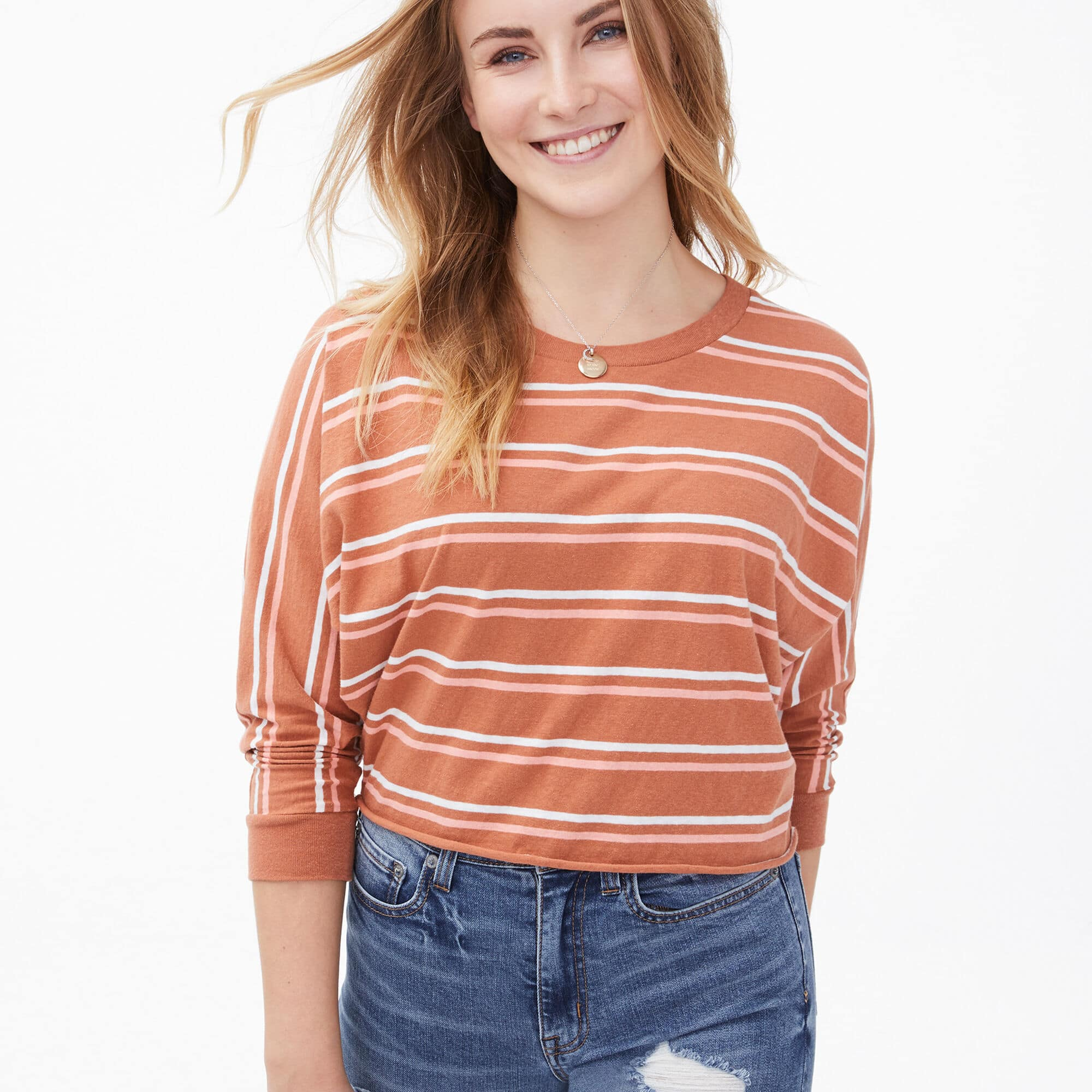 Striped Cropped Dolman Crew Tee $10