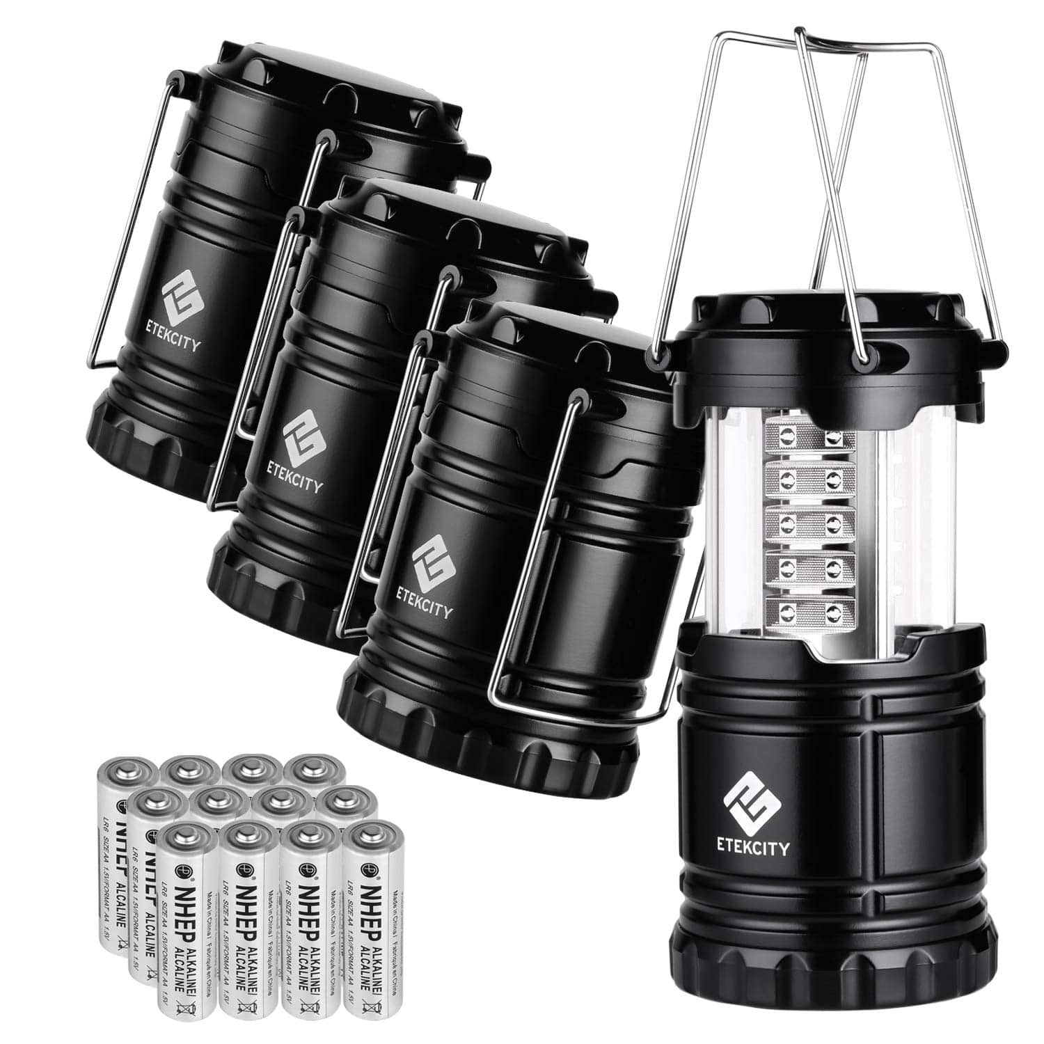 Etekcity 4 Pack LED Camping Lantern Portable Flashlight with 12 AA Batteries $19.99