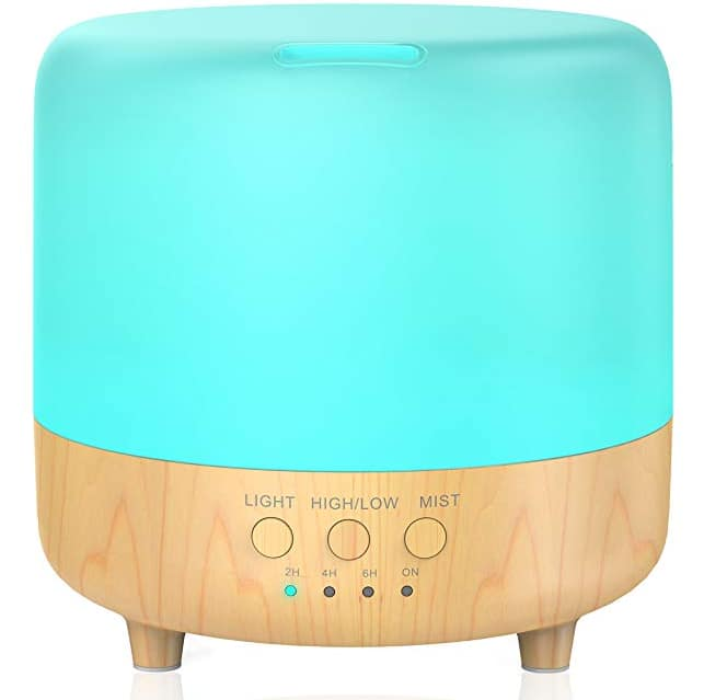 Leknes 500ml Essential Oil Diffuser with Wood Grain Timer, Waterless Auto Shut-Off, Mist Adjustable and 7 LED Colors for $10.99 @Amazon