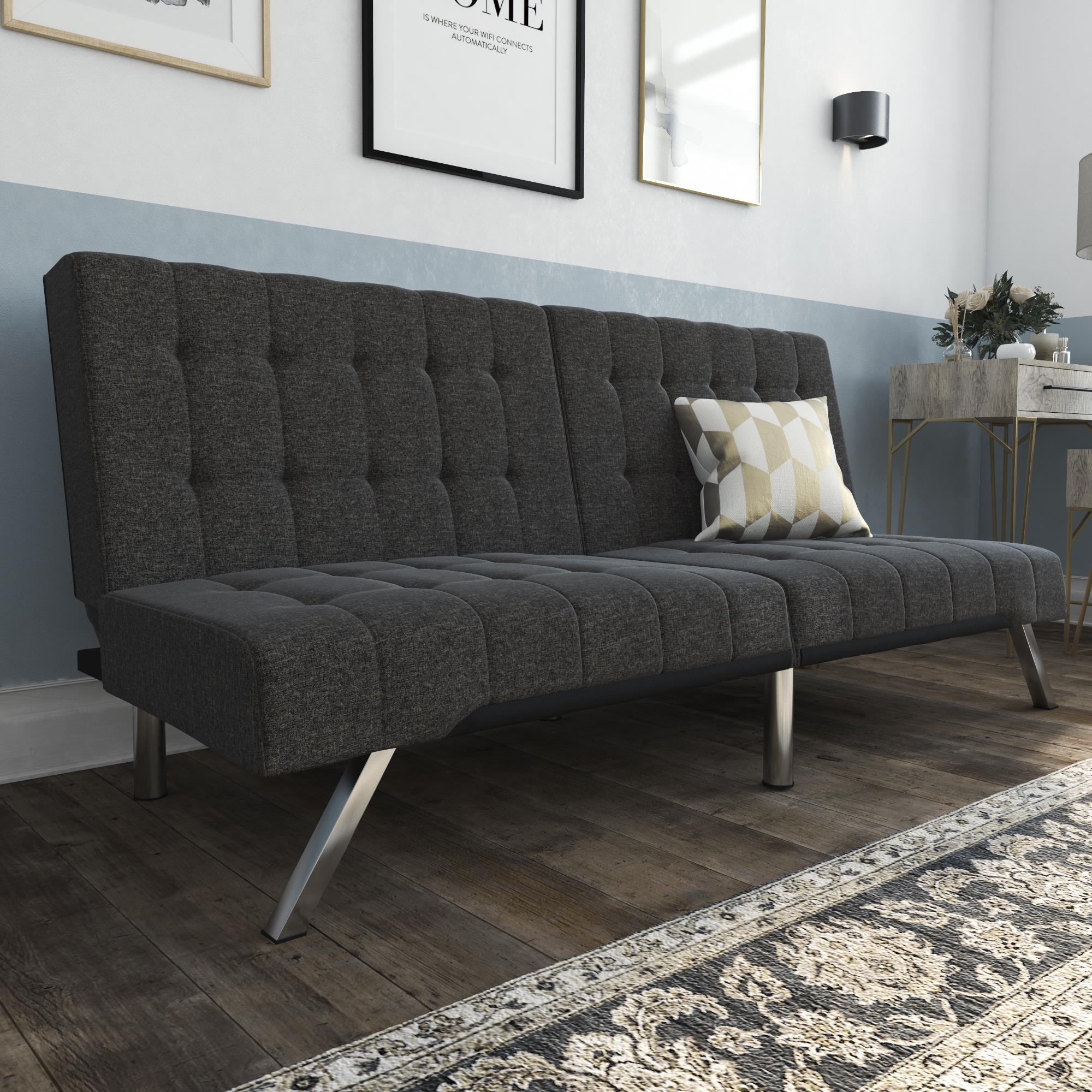 DHP Emily Convertible Futon Sofa Couch, Gray Linen $179.99+FS