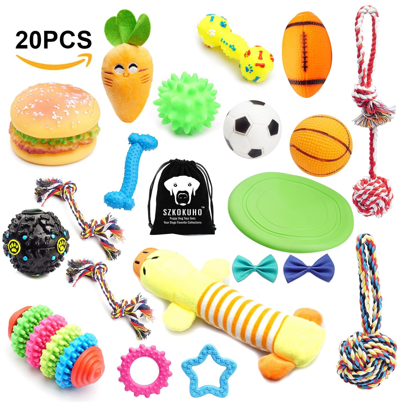 SZKOKUHO 20 Pack Puppy Dog Chew Toys Set at amazon - $15.95