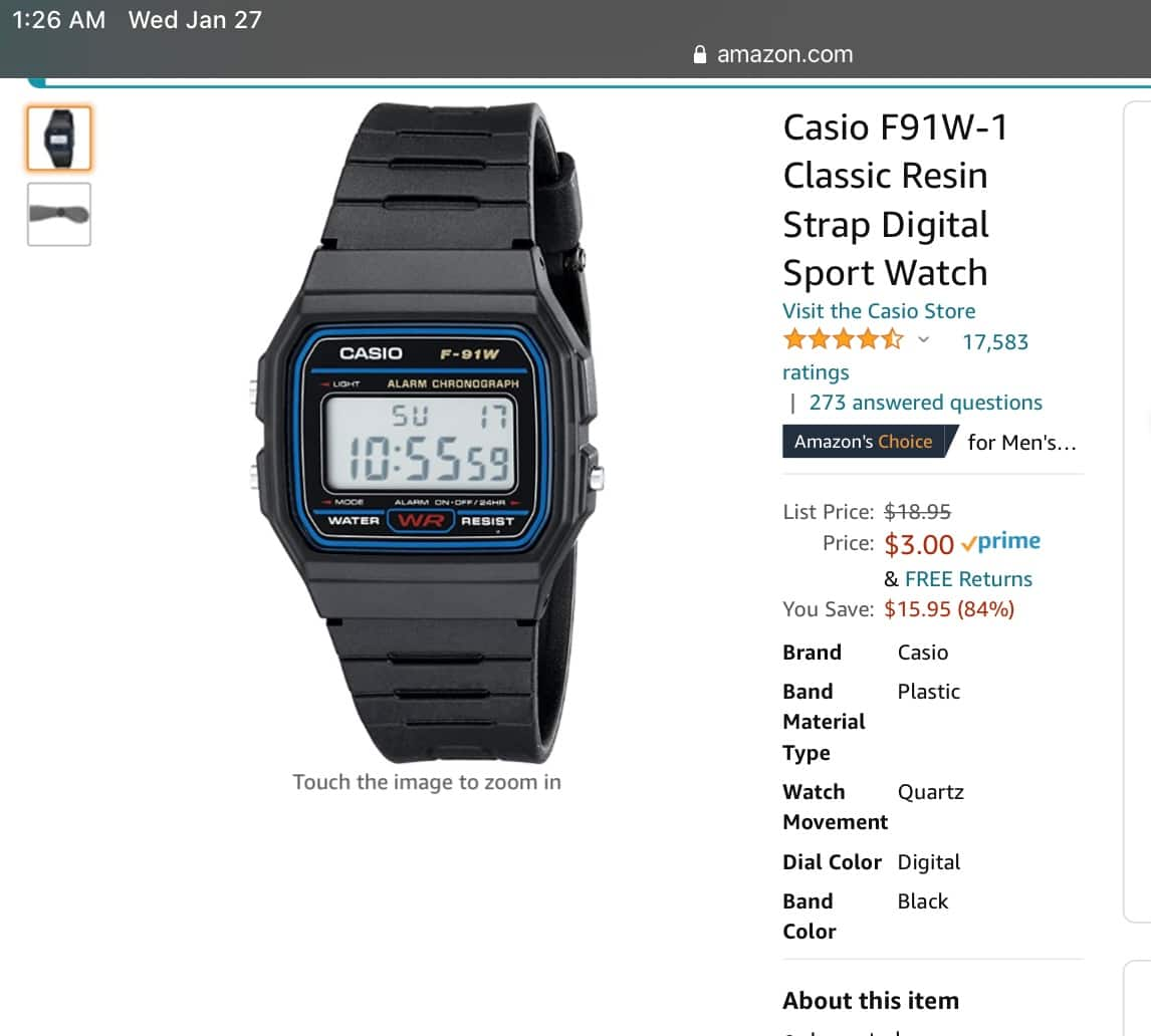 Casio F91W-1 Classic Digital Watch $3.00