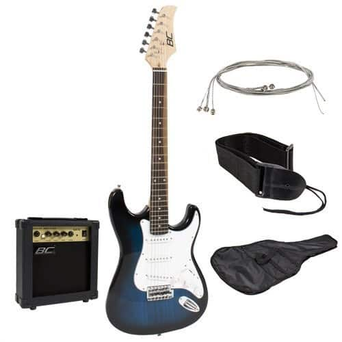 Full Size Blue Electric Guitar with Amp, Case and Accessories Pack Beginner Starter Package [Blue] $85.99