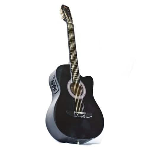Acoustic Guitar with Case, Strap, Digital E-Tuner, and Pick, (Black) for Beginners, $38.98