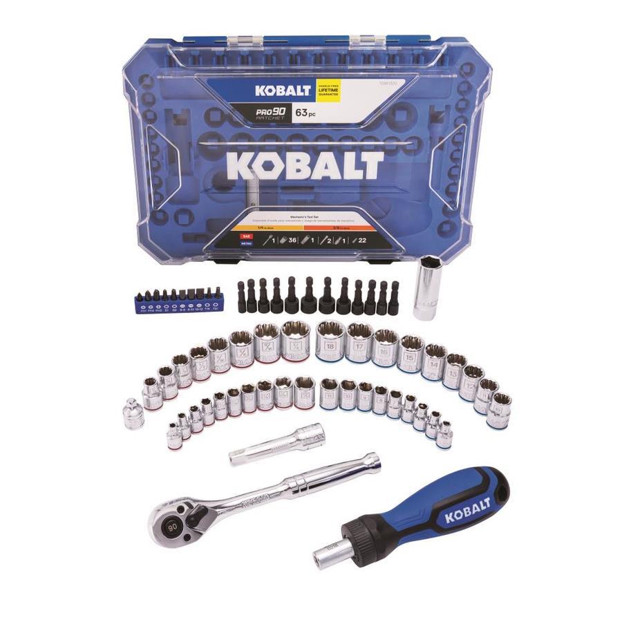 Kobalt 227-Piece Standard SAE and Metric Polished Chrome Mechanic/'s Tool Set