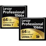 Lexar Professional 1066x 64GB CompactFlash card - 2 Pack $136.99