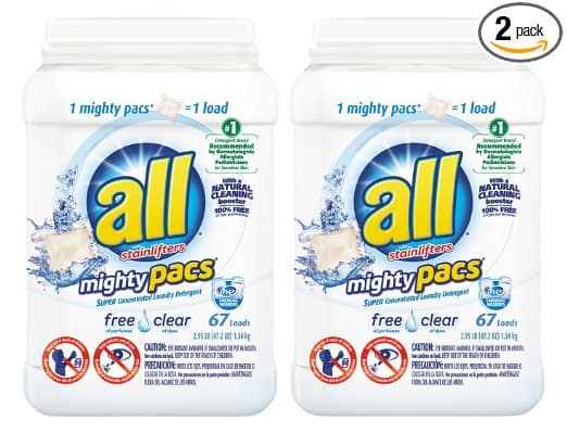 All Mighty Pacs Laundry Detergent, 134ct - $7.25 on Amazon.com (Add-on Item)