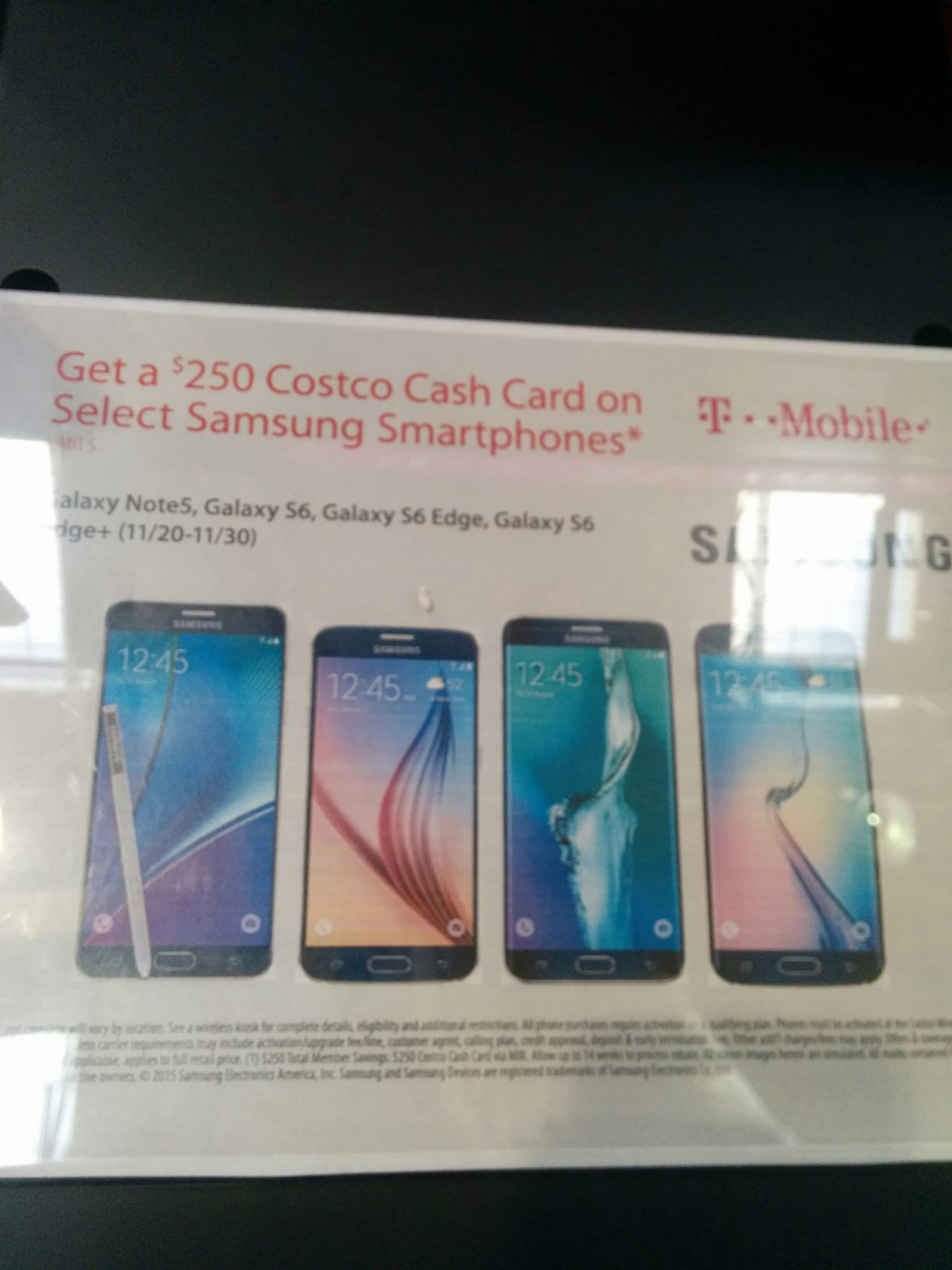 $250 Costco GC w/ purchase of T-Mobile Galaxy Note 5 or S6 or S6 Edge(+)